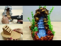 How to make waterfall fountain showpiece Diy Water Fountain, Indoor Fountain, Garden Waterfall, Waterfall Fountain, Ganapati Decoration, Diy Nativity, Banana Art, Glue Gun Crafts, Asian Paints