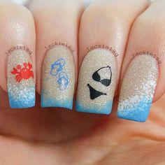 Blue, Black, White, Orange ::::: Beach Themed Nail Art; Crab, Flip Flops, Bikini