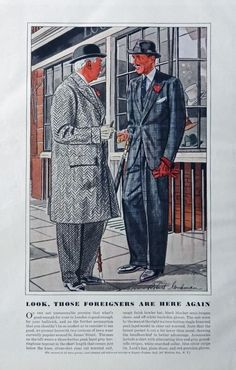 Men s Fashions  Vintage Print Ad  30 s Color Illustrations  Robert Goodman Art  Foreigners   Art