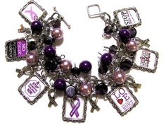 Domestic and sexual Violence Awareness Jewelry | DOMESTIC VIOLENCE AWARENESS Altered Art Charm Bracelet Beaded Glass ...