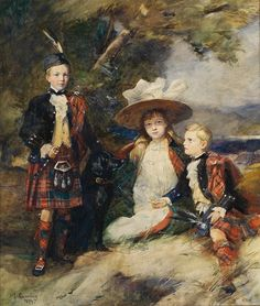 The MacKinnon children by W S Cumming, Given to Emily Jane Mackinnon (Hon. Mrs Mackinnon) by her mother The Lady Hood of Avalon. William Skeoch Cumming was a Scottish artist who specialised in Highland and Scottish military portraits and drawings. Scottish Dress, Scottish Fashion, Scottish Clan Tartans, Scottish Clans, Best Portraits, Fashion Portraits, Aberdeen Art Gallery, Men In Kilts, Sketch Painting