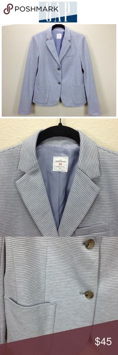 Gap Blue & Gray Striped Academy Blazer Blue and gray horizontal striped fully lined blazer with 2 button closure, 2 front pockets and 1 breast pocket.  In excellent new condition with no visible spots, holes or piling.  Thanks for your interest!  Please checkout the rest of my closet. GAP Jackets & Coats Blazers