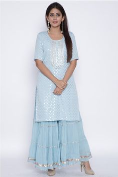 Blush Blue Silver Dot Short Kurti with Crushed Sharara