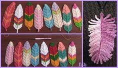 Crochet Feathers Free Patterns & Tutorials -Video: Crochet Reversible feathers, Crochet Feather Necklace Patterns Free, Video Tutorial