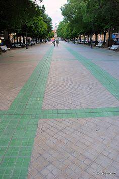 Paseo de Sarasate, #Pamplona Pamplona, Spain, Sidewalk, World, Travel, Walks, Destinations, Street, Parks