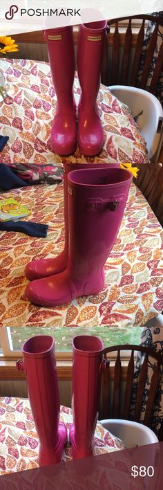 Hot Pink Hunter Boots Some small stains but not noticeable unless you are looking super close. I wore them maybe 3 times but they are too small so I got uncomfortable. Hunter Boots Shoes Winter & Rain Boots