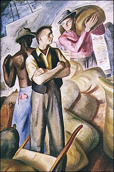 Mural by J. Theodore Johnson ~ this is a WPA sponsored work painted in the Oak Park Post Office which I think might be in the Chicago area Civil Works Administration, American Art, American History, Coit Tower San Francisco, Clemente Orozco, Franklin Roosevelt, Park Art, Diego Rivera, Art Programs
