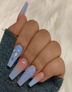 Purple Acrylic Nails, Summer Acrylic Nails, Black Nails With Glitter, Square Acrylic Nails, Cute Acrylic Nail Designs, Purple Nail Designs, Long Nail Designs, Lavender Nails, Fire Nails