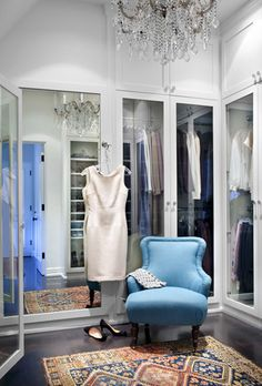 Looks like the dressing room in a very elegant dress shop, but the elements could be used in your home. Why not have an oriental rug & a chair if you have enough room? Take that extra bedroom that your child has long moved out of & redo it for yourself!