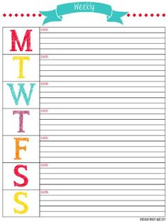 Download  Print Cute Folded Weekly Calendar  Diy Planners And