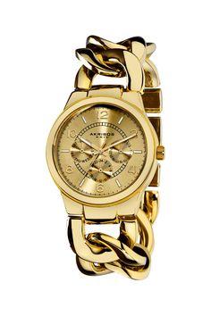 Akribos XXIV Women's Twist Chain Quartz Multifunction Watch on HauteLook