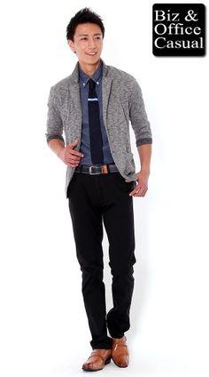 7分袖ジャケット×シャンブレーシャツ×ニットタイ×ブラックチノパン biz14ss_4823 - メンズビジネスカジュアル(ビジカジ)通販