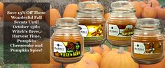 Fall Scents 15% off till October 15th!  Receive a FREE Mia Melt sample and our new Fall/Winter catalog with purchase from me :-)  http://www.candlecomforts.scent-team.com/products/slideFallScentSale.php