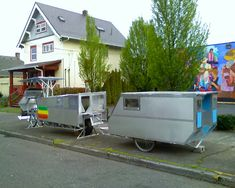 Brian Campbell camper Motorcycle Trailer, Bike Trailer, Scooter Motorcycle, Camper Trailers, Small Camping Trailer, Small Trailer, Tiny Camper, Cargo Bike, Affordable Housing
