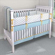 Gray and Mist Dots and Stripes Custom 4-piece Crib Bedding Set | Gray and Mist Dots and Stipes Nursery Idea | Carousel Designs 500x500 image
