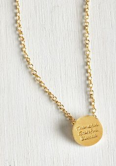 Merci, My Dear Necklace. You have a lot to be thankful for, so show your gratitude with this gleaming golden necklace. #gold #modcloth