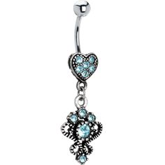 Antique Silver Victorian Heart Solar Blue Gem Dangle Belly Ring | Body Candy Body Jewelry #bodycandy #piercings #bellyring