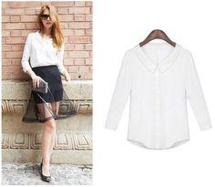#street style# #white# #chiffon# #blouse#