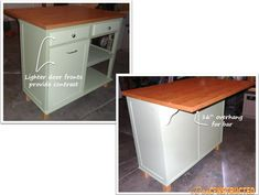 Old desk turned into a kitchen island. #DIY