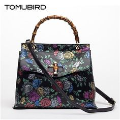 (165.98$)  Watch here - http://aiwe9.worlditems.win/all/product.php?id=32801752969 - TOMUBIRD superior cowhide leather Designer Inspired Embossed Flower Ladies Handmade Leather Tote Satchel Handbags
