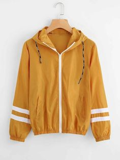 Shop Varsity-striped Zip Up Hooded Jacket online. SHEIN offers Varsity-striped Zip Up Hooded Jacket & more to fit your fashionable needs. Sweater Jacket, Hooded Jacket, Sweater Cape, Windbreaker Jacket, Bomber Jacket, Look Fashion, Fashion Outfits, Fashion Black, Men's T Shirts