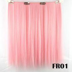 9 colores, rosa colorida del pelo de cosplay, clip sintético recto en extensiones de cabello, color RF01