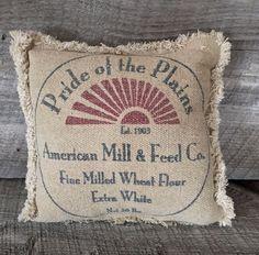 Primitive Millie Pride of the Plains Burlap Stenciled Pillow #Primirive #Handcrafted