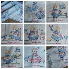 Vintage Days of the Week Towels - Housekeeping and Bluebirds. . . .  A Sentimental Journey
