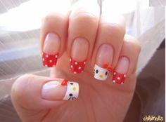 My latest interest is nail art designs. I find myself looking more and more for beautiful nail polish pictures that I can bring to the salon to get my nails done just like that. Today I'm s… Kawaii Nail Art, Cute Nail Art, Gel Nail Art, Cute Nails, Pretty Nails, French Manicure Nails, Manicure Y Pedicure, Beautiful Nail Polish, Gorgeous Nails