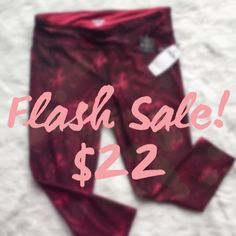 "⚡️⚡️FLASH SALE!⚡️⚡️ Spalding Exercise Pants New! ""Persian Red"" / burgundy abstract floral print workout/yoga/gym pants. Stretch, wicking material, key pocket. 💋 Happy Poshing! (x trade) Spalding Pants Ankle & Cropped"