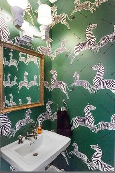 If you can't go wild in the powder room, where can you do it? Push Your Style: 7 Bold Ideas from Pros — Professional Projects. Green Scalamandre Wallpaper Zebras Wallpaper spices up a powder room by Rebekah Gainsley. Zebra Wallpaper, Powder Room Wallpaper, Bathroom Wallpaper, Large Print Wallpaper, Graphic Wallpaper, Zebra Bathroom, Bathroom Small, Garage Bathroom, Bathroom Green