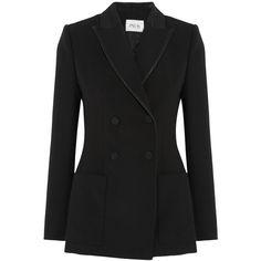 Pallas Ciceron faille-trimmed wool-gabardine blazer (9.780 VEF) via Polyvore featuring outerwear, jackets, blazers, black, black blazer, black wool jacket, petite jackets, petite black jacket y wool blazer