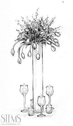 wonderful sketch of tall centerpiece inspiration