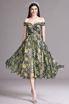eDressit Yellow Print Off Shoulder Tea Length Cocktail Party Dress (X04152103)