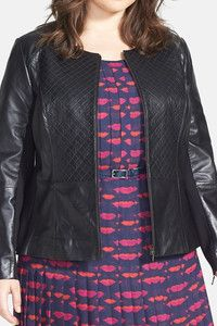 Sejour Quilted Leather Peplum Jacket (Plus Size)  keatonrow.com/deliahernandez
