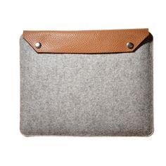 FREE SHIPPING iPad sleeve  Grey Merino with Brown Leather. €24.95, via Etsy.