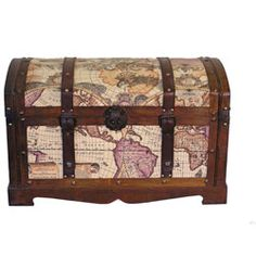 Old World Victorian Treasure Chest Styled Wood Trunk #falsoacabadomarmol