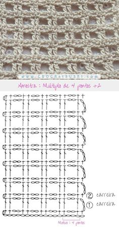 - Tricot Pontos - Best Picture For fabric crafts fat quarters For Your Taste You are looking for something, and it - Filet Crochet Charts, Crochet Motifs, Crochet Diagram, Crochet Stitches Patterns, Crochet Squares, Crochet Shawl, Crochet Doilies, Stitch Patterns, Knitting Patterns