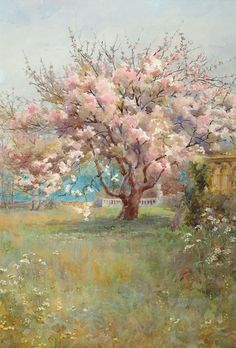 """""""Blossom Time"""" by Charles Edward Georges A painting evoking a sense of nostalgia, with a cherry blossom tree in a beautiful green/brown field, with a blue sky behind it. Paintings I Love, Beautiful Paintings, Landscape Art, Landscape Paintings, Landscapes, Impressionist Paintings, Charles Edward, Pastel Art, Fine Art"""
