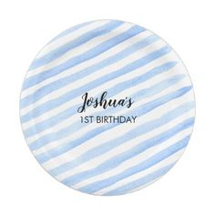 Blue stripe personalized party plates - kitchen gifts diy ideas decor special unique individual customized