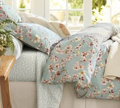 Cherry Blossom Organic Duvet Cover & Sham | Pottery Barn - so beautiful