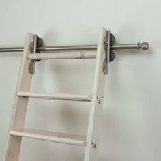 rolling library ladders | Red Oak Satin Nickel with Ladder - Rolling Library  Ladder Hardware
