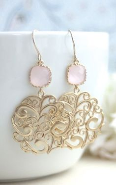 Gold Paisley Filigree Chandelier with Blush Ice Pink Drops Earrings
