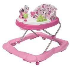 The Disney Baby MINNIE MOUSE Ribbons Music & Lights™ Walker offers plenty of fun for your little one. The oversized play tray features 4 Minnie Mouse and friends toys and conveniently swings open to reveal a snack tray perfect for little treats or other toys. Sturdy wheels work well on floors and carpet alike, while the grip strips reduce walker movement on uneven surfaces. With a machine-washable padded seat, cleaning the walker is as easy as A-B-C!