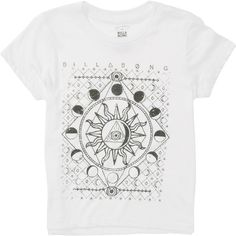 Billabong Unisex Moonlight Gypsy Girls Boyfriend Tee ($16) ❤ liked on Polyvore featuring tops, t-shirts, t-shirt/prints, white, screen print tees, boyfriend tee, white t shirt, graphic print tees and graphic tees