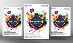 Minimal Winters Party Flyer Template by Business Templates on @creativemarket