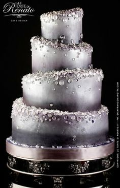 Silver Wedding Cake - drops cake