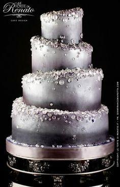 Torta de casamiento en #plata | Bolo de casamento em #prata | #Silver Wedding Cake - drops cake