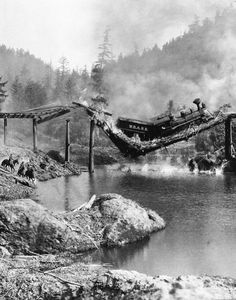 """""""On July 23, 1926, the most expensive single shot in silent-film history was filmed forThe General. This was the shot in which a bridge previously sabotaged by Johnnie collapses under the weight of the Northern soldiers' train. Three or four thousand local people had gathered on that hot summer day to witness what would be the single-most expensive shot of the silent era. $42,000 (over a half-million dollars in by 2010 standards) had been spent for the scene's exhaustive pre"""
