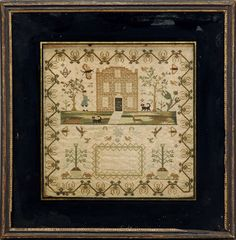 MARY ANNE RAY'S NEEDLEWORK SAMPLER WITH BRICK BUILDING, FIGURE AND ANIMALS.
